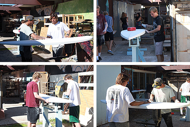 photos of students shaping surfboards
