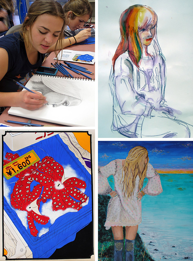 4 drawings and paintings by students